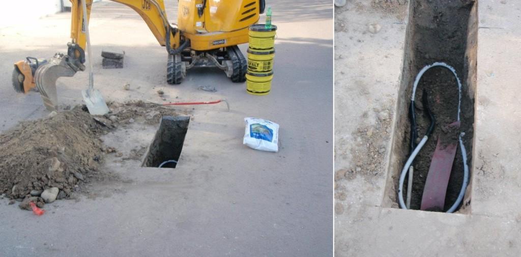 Lokalisering af kabelfejl i asfaltvej. Bemærk hullets størrelse, og nu virker kablet igen!